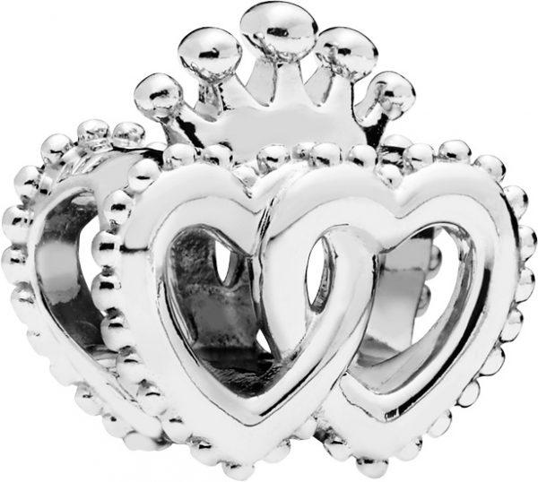 PANDORA Charm 797670 United Regal Hearts Silber 925 Doppelherz Krone