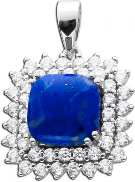 Anhänger Lapislazuli blauer Edelsteinanhänger Sterling Silber 925 blauer Lapislazuli klare Zirkonia