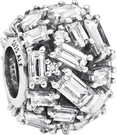 PANDORA SALE Charm 797746CZ Chiselled Elegance Sterling Silber 925 klaren baguette Zirkonia