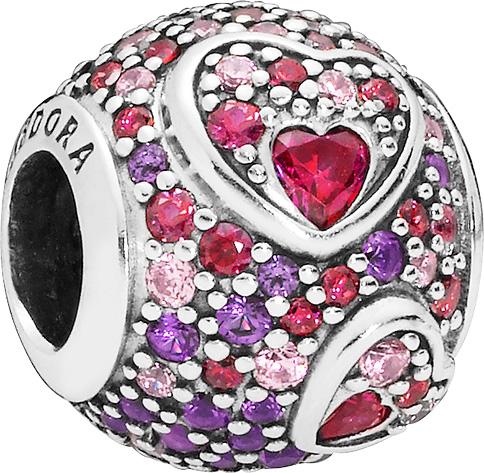 PANDORA Charm 797826CZRMX Asymmetric Hearts of Love Silber 925 Zirkonia Kristalle