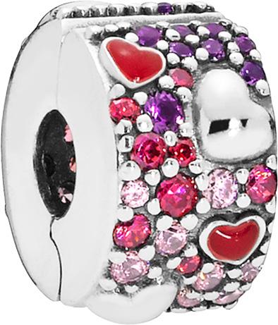 PANDORA Clip Charm 797838CZRMX Asymmetric Hearts of Love Silber 925 Zirkonia Kristalle Emaille