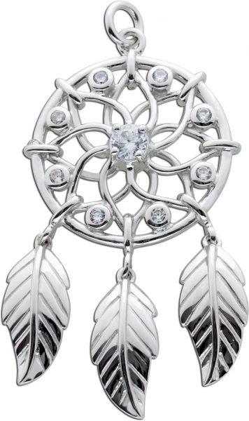 Kreisförmiger Traumfänger Anhänger weißen Zirkonia Silber 925 Federschmuck