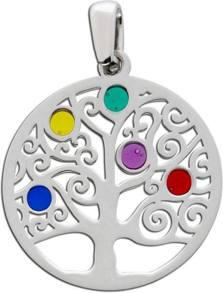 Lebensbaum Kettenanhänger Silber 925 bunt  Kinder Damen Schmuck