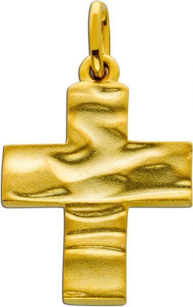 Kreuz Anhänger Kreuzschmuck Silber 925 gold farben strukturierte Oberfläche matt 36x22mm
