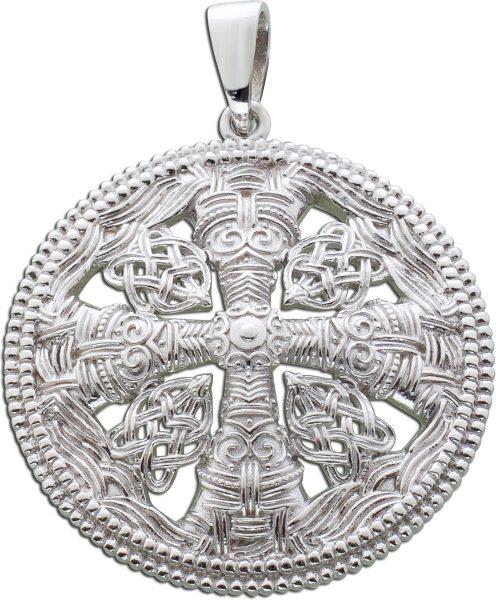 Kreuz Anhänger rund Wikinger Schmuck Silber 925 verziert Damen Herren Wikingerschmuck
