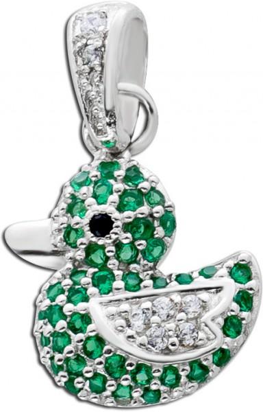 Enten Anhänger Silber 925 grüne weisse Zirkonia  Damen Kinderschmuck