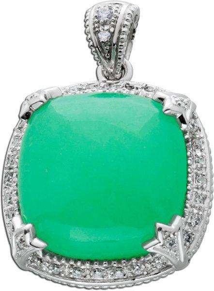 Jade Anhänger Silber 925 grüner Edelstein Cabochon Schliff weisse Zirkonia Damen