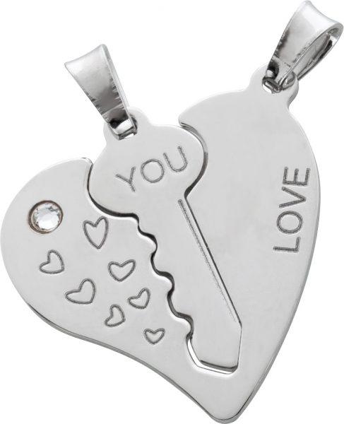Freundschafts Anhänger Silber 925 Schlüssel Herz einzeln tragbar