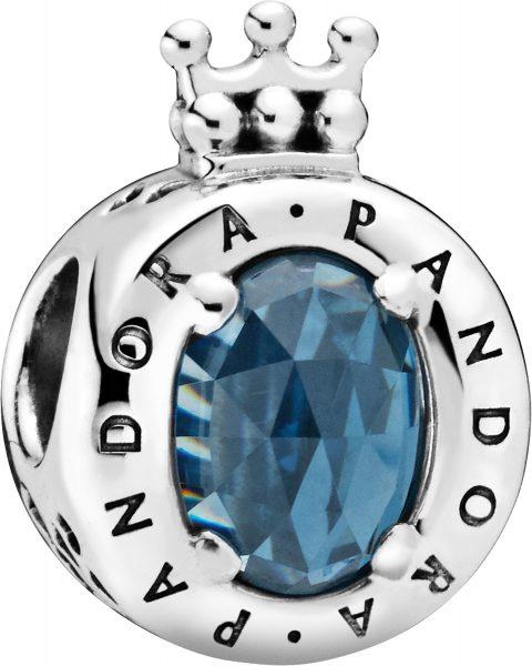 PANDORA Sale Charm 798266NMB Blue Sparkling Crown O Sterling Silber blauer Kristall