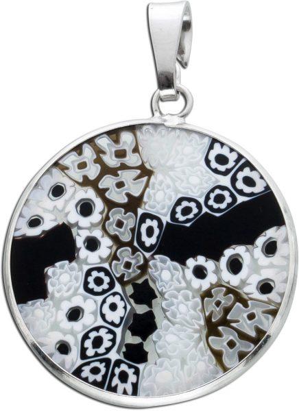 Schwarz weiss Anhänger Silber 925 mit Blumenmuster Murrina Glas Murano Glas