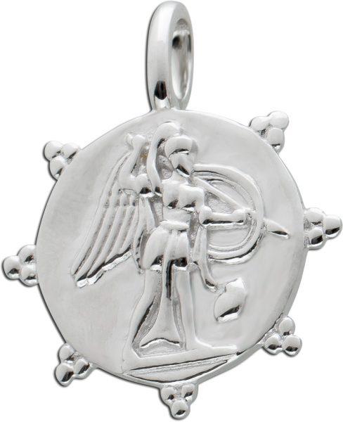 Münzanhänger rund Silber 925 Coin Anhänger Zacken