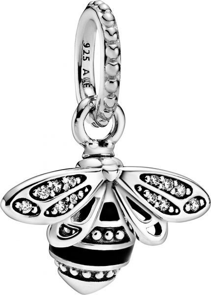 Pandora Garden Anhänger 398840C01 Sparkling Queen Bee Silber 925 Klare Zirkonia Schwarz Emaille