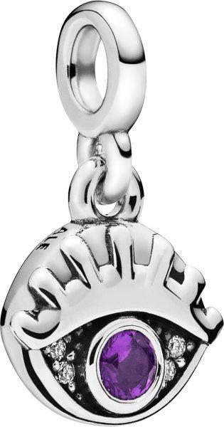 Pandora Me Charm Anhänger 798394NRP My Eye Silber 925 Lila Violett Kristall Klare Zirkonia