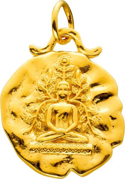 Buddha Anhänger Silber 925 Vergoldet
