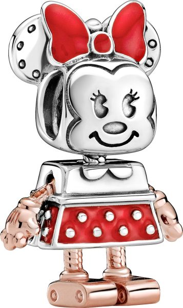 Pandora Disney Charm 789090C01 Disney Minnie Mouse Robot Rose Silber 925 Rote Emaille