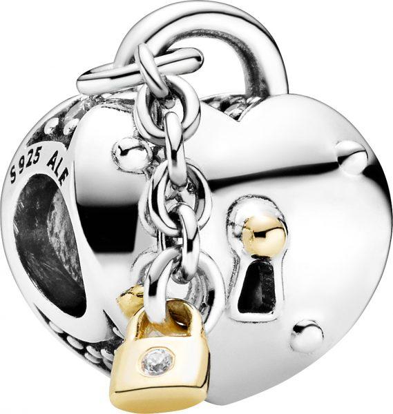 Pandora Charm 799160C01 Heart Lock Silber 925 14kt Gold