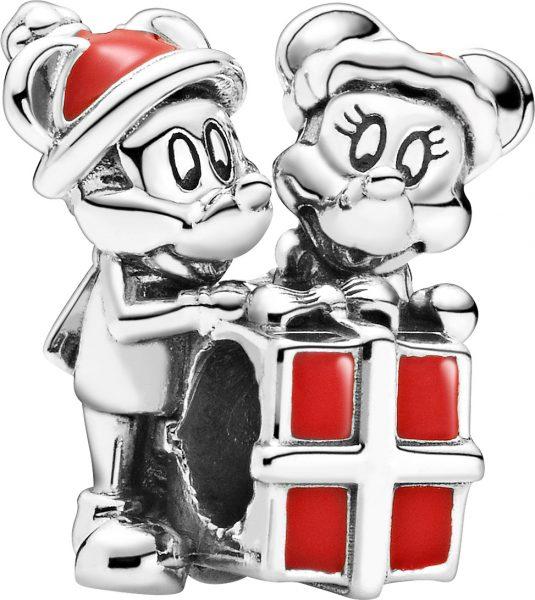 Pandora Disney Charm 799194C01 Mickey Minnie Maus Present Silber 925 red enamel