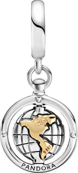 Pandora People Charm 799303C01 Spinning World Dangle 14K Gold Silber 925