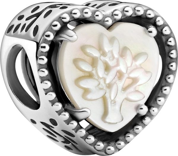 Pandora Moments Charm 799413C01 Openwork Heart And Family Tree Silber 925 Perlmutt