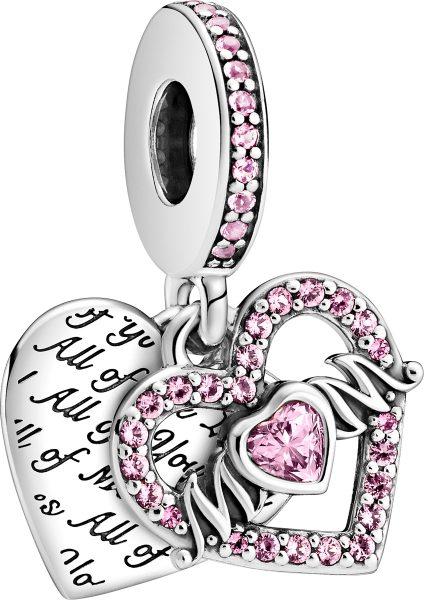 Pandora Moments Charm 799402C01 Heart And Mum Silber 925 Rosa Zrikonia Kristalle