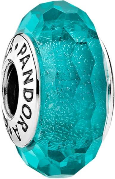 Pandora Faceted Teal Murano Glass 791655 Charm Silber 925