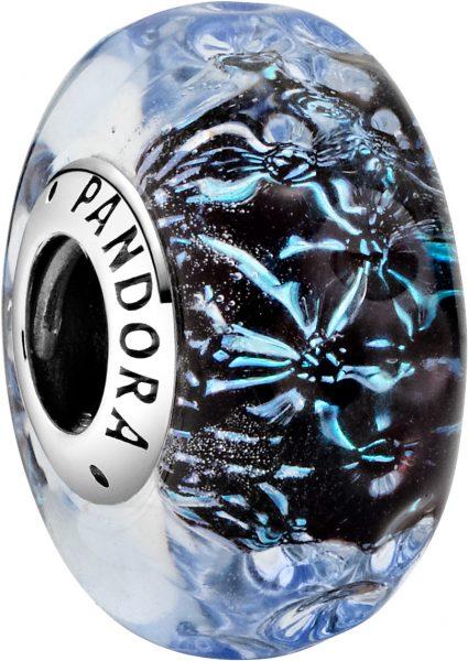 Pandora Charm Silber 925 Moments Collection 2021 Murano Glas dunkel blau Charm Wavy Dark Blue 798938C00