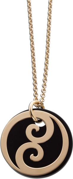 Kette Yin und Yang Sterling Silber 925 rose vergoldet mit schwarzem Achat