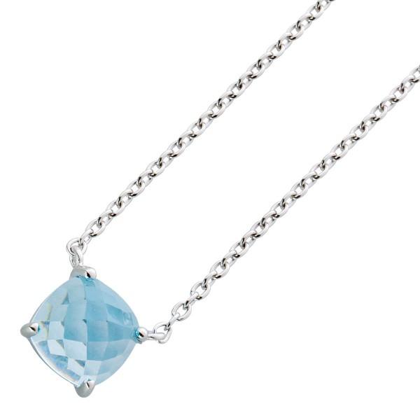 Halskette Sterling Silber 925 Blautopas Edelstein facettiert Ankerkette