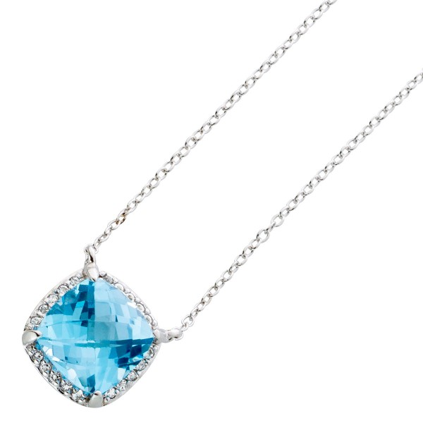 Halskette Sterling Silber 925 Blautopas facettiert 20 weisse Topase Anhänger Ankerkette