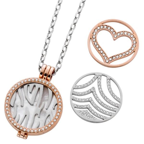 Halskette Ankerkette Medaillon Metall Ge...