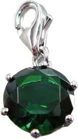 Charmanhänger aus echtem 925/- Silber Sterlingsilber und funkelndem grünem Zirkonia mit Karabinerverschluss, Größe: 1,0×2,0 cm (Maße mit Verschluss) im angesagten Saboo Look.