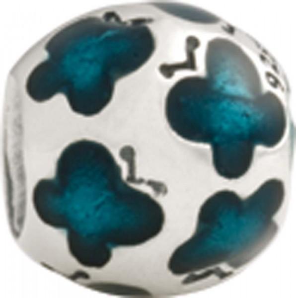 PANDORA Charms Element 79438 Schmetterlinge aus 925/- Silber Sterlingsilber, mit grünfarbener Emaille