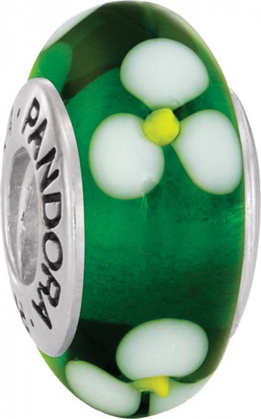 PANDORA Charms Muranoglas Element Blume 790614 aus 925/- Silber Sterlingsilber, Grün/Weiß Blumen-Muster