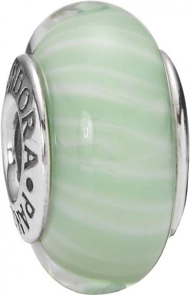 PANDORA Charms Muranoglas Element  Modellnummer: 790685 Glamouröses Design aus echtem Silber Sterlingsilber 925/-. Maße ca. 15,2mm x 8,9mm. Farben: grün-weiß quer gestreift In Premiumqualität von Deutschlands größtem und günstigstem Schmuckverkäufer. Der
