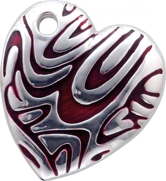 Rot/Silber emaillierter Herzanhänger, a...
