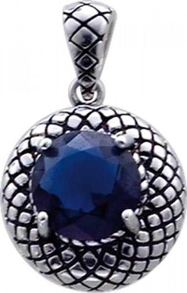 Schöner Anhänger mit synth. nachtblauen facettiertem Stein in Silber Sterlingsilber 925/-, besondere Einfassung