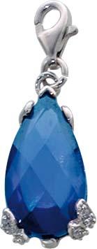 Charm-Anhänger aus echtem  925/- Silber Sterlingsilber, mit weißen Zirkonia und einem blauen, synthetischen Saphir und einem  Karabinerverschluss versehen, , Größe: 1,0cm x1,7 cm (Maße mit Verschluss) aus dem Charmclub. Preishit aus Stuttgart!