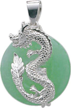 Silberanhänger. Traumhafter Anhänger aus echtem Silber Sterlingsilber 925/-, mit grünem Jade und daraufliegender Drache, rhodiniert (Weißgoldlook) und hochglanzpoliert. Durchmesser ca. 22 mm, Länge des Anhängers ca. 34 mm, passend für alle Ketten mit eine