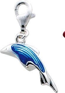 Anhänger Charm Delfin aus 925/- Silber Sterlingsilber 925,teilweise blau emailliert, hochglanzpoliert an einem stabilen Karabinerverschluss. Masse : Höhe 19,5 mm , Breite 6,7 mm .Ein absolutes Schmuckstück aus dem Hause Abramowicz ,die Nr 1 für Gold Sil