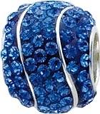 Funkelndes Bead-Element aus echtem Silber Sterlingsilber 925/-, verziert mit strahlenden blauen Kristallstrassteinen, geeignet für Ketten bis 4 mm Stärke, Maße ca. 11×13 mm im angesagten Pandorralook. Ein Accessoire für alle, die Silber und Strass lieben