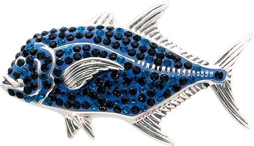 Fisch-Anhänger, auch als Anstecknadel tragbar aus echtem Silber Sterlingsilber 925/-, verziert mit wunderschön funkelnden blauen und schwarzen Zirkonia. Maße ca. 25x42mm. Ein edles und strahlendes Accessoire für alle, die Silber und das Funkeln lieben von