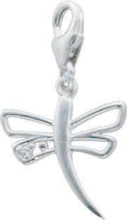 Anhänger Charms Libelle aus echtem Silber Sterlingsilber 925/-, mit einem funkelnden Zirkon und einem sicherem Karabinerverschluss besetzt, Länge 25mm, Breite 14mm. Zum Schnäppchenpreis aus dem Hause Abramowicz, der Juwelier Ihres Vertrauens aus Stuttga