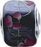 Floraler Bead-Anhänger aus echtem Silber Sterlingsilber 925/-,  der Anhänger ist aus schwarzem, grünem und rosa  Muranoglas, er ist von rechteckigem Format. Seine Breite ist  ca. 12 mm und die Höhe ca. 10 mm. Er ist  geeignet für Ketten bis 4 mm Stärke, i
