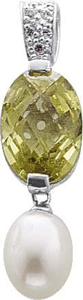 Silberanhänger, Anhänger aus 925/- Silber Sterlingsilber, poliert, Länge 3,6cm, mit einer Süßwasserzuchtperle Durchmesser 11x9mm, 7 weiße und einem grünem funkelnden Zirkonia Durchmesser 1cmx1,5cm, geeignet für Ketten bis 4 mm in Premiumqualität von Deuts